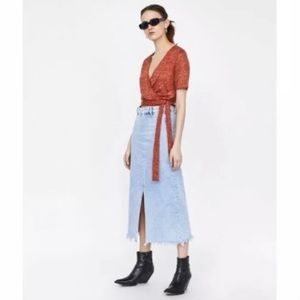 Zara Collection Cropped Linen Ted Marked Wrap Top